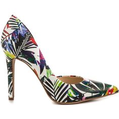 Jessica Simpson Women's Claudette - Multi Multi Palm Print ($80) ❤ liked on Polyvore featuring shoes, pumps, high heel shoes, multi color shoes, multi colored shoes, multi colored pumps and d'orsay shoes