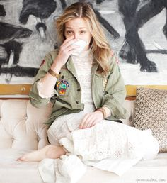Coffee with Piper Perabo, in a military jacket and white lace