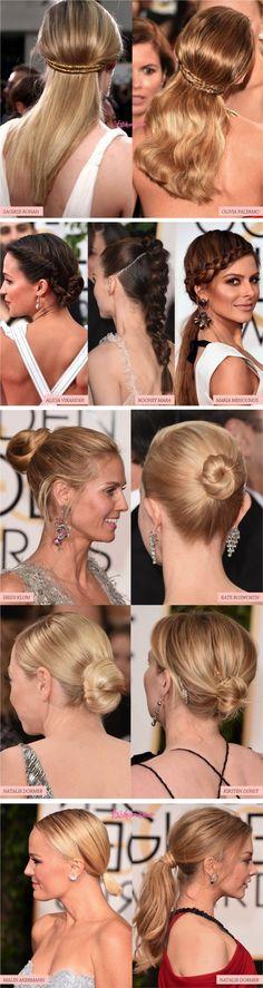 Confira os cabelos e penteados das celebridades no red carpet do Golden Globes. Perfeito para se inspirar para um casamento ou formatura!