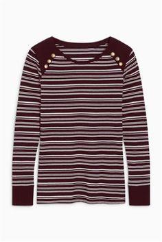 Plum Long Sleeve Stripe Top