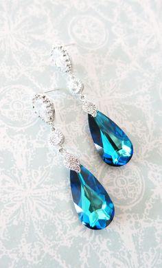 Bermuda Blue Faceted Teardrop Crystal Earrings, Something blue, Peacock Wedding, Bridal Earrings, Bridesmaid Jewelry, Weddings, www.glitzandlove.com