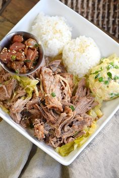 Instant Pot Kalua Pork bento lunch with sticky rice, Hawaiian potato salad and poke | cookingwithcurls.com
