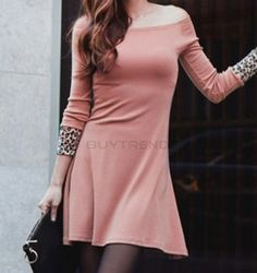 Sexy Women's Solid Color Pink Dress on buytrends.com