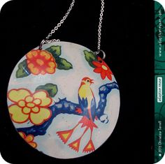 Vintage Fancy Bird--Upcycled Vintage Tin Circle Necklace by adaptive reuse.