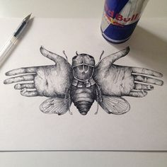 Hand butterfly illustration ink ©Alfred Basha