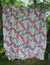 Superb Set of Four Tropical Flowers and Foliage Barkcloth Curtains Drapes