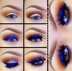 DIY Makeup Tutorials : Electric Blue for Brown Eyes  How To Put On The Best Smokey Eyeshadow | Step By