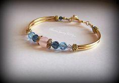 Blue and Pink Bangle Bracelet: Wedding Jewelry, Jewelry for Wedding, Bridal Jewelry, Jewelry Sets, Bridesmaid Jewelry, Crystal Bracelet