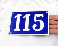 Vintage Traditional French Enamel House Number Plate Number 115 in Blue with White Colored Numbers / Decor / Porcelain Sign / Retro Interior by VintageDecorFrancais on Etsy