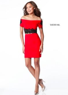 Sherri Hill Red Off the shoulder 2 piece lace Ypsilon Dresses Prom Pageant Evening Wear SLC Utah Dress Store Sweethearts Homecoming School Dance Dress Formal Formalwear fitted