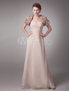 Champagne Sheath Ruched Chiffon Mother of the Bride Dress with Sweetheart Neck Strapless Lace-up - Milanoo.com