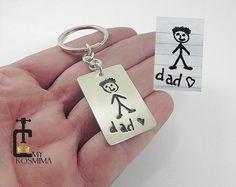 Kids drawing silver key chain actual child drawing by MyKosmima