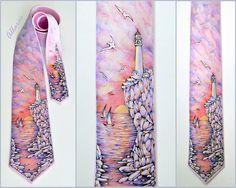 Lighthouse. Handpainted Silk Necktie. Sea Sunset Silk Tie. Bright Summer Tie. Fathers Day Gift. Pink Silk Tie.