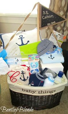 Baby boy baby shower gift idea from my mother in law things super cute nautical themed gift basket for baby shower gift negle Image collections