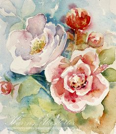 Sunday Watercolors - Roses | Karin @ Peppermint Patty's Papercraft