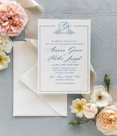 This classic invitation is everything you need to share in the joy of your big day and is guaranteed to be a guest favorite.  #romanticweddings #weddinginvites #weddinginvites #weddingideas   #springweddingideas Monogram Wedding Invitations, Classic Wedding Invitations, Fine Stationery, Dusty Blue Weddings, Romantic Weddings, Spring Wedding, Weddingideas, Wedding Flowers, Wedding Planning