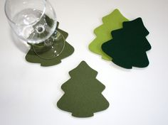 Christmas Tree Holiday Drink Coasters in 5mm Thick Merino Wool Felt