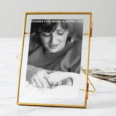 This beautiful personalised brass frame for mums is perfect as a Mothers Day gift.  You can add the words of your choice to this stylish brass frame to create a unique gift for your mum. The frame fits a 5x7 photograph but you could put in smaller items such as tickets or cards to create a bespoke keepsake. There are hooks on the reverse to allow for the frame to be hung on the wall, either portrait or landscape.  You can add up to thirty uppercase characters for your chosen phrase. Please…