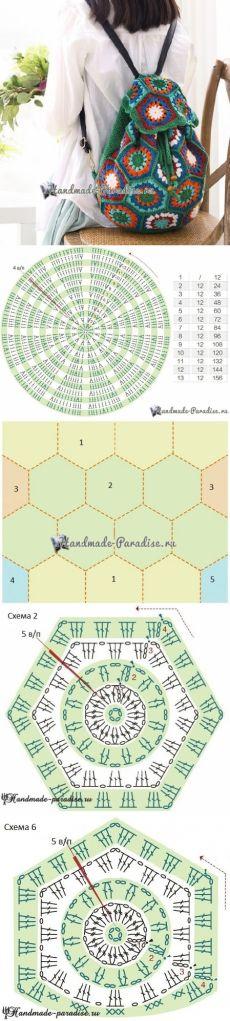 Рюкзак крючком из шестиугольных мотивов. Схемы - Handmade-Paradise