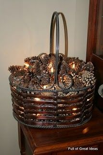 Christmas 2013 Pine cone basket with lights #Christmas #holiday #decor