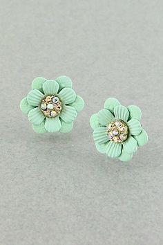 Sweet Mint Flower Earrings Measurements: 0.75 inch studs Materials: painted metal, crystals Price: $7.99