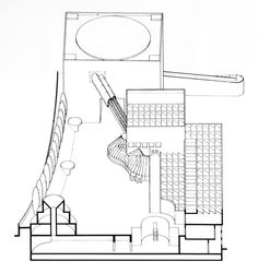 James Stirling and Michael Wilford, Wallraf-Richartz Museum, Section Through Lower Gallery andSculptureGarden, Cologne, Germany, 1975