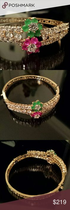 Emerald n Ruby Bracelet This marvelous 18 karat gold plated German silver bangle part of the diamond exclusive collection, cz's Jewelry Bracelets