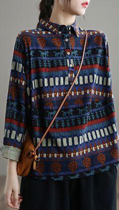 Elegant Lapel SpringTop Work Blue Ethnic Style Shirt Ethnic Fashion, Blue Fashion, Working Blue, Ethnic Style, Spring Tops, Shirt Style, Long Sleeve Tops, Autumn Tops, Linen Tops
