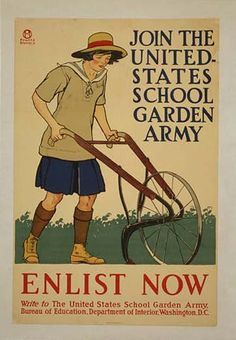 """""""A sister project of the Women's Land Army of America was the United States School Garden Army (USSGA). This program was created by the federal Bureau of Education in early 1917. According to Charles Lathrop Pack, the army tended two fronts: 1) increasing food production and 2) agricultural education. The longterm goal was to grow """"future citizens trained to intelligent application of the principles of thrift, industry, service, patriotism and responsibility."""""""