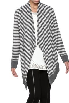 Long tunic style cardigan featuring a striped diagonal pattern .Hem and cuffs accented in a darker grey.   Cascade Collar Cardigan by Ruby Road. Clothing - Sweaters - Cardigans New Hampshire