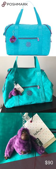 """Unique Kipling Art M Turquoise & Purple Monkey Make a stylish statement with this versatile Kipling tote with an adorable charm and plenty of space to carry everything from work, school and gym essentials. 17""""W x 14""""H x 7-1/4""""D  Interior features lining and 1 zip pocket 8""""L double straps Exterior features silver-tone hardware, logo, clip-on charm, 1 front zip pocket, 1 front slip pocket, 2 optional side zip pockets that cinch or un-cinch sides of bag and 2 side snap closures Silhouette is…"""