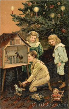 """Three Children Playing on Christmas. They got a """"horse stable"""" dollhouse for Christmas, with toy horses."""