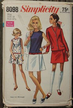 Simplicity 8098 1960s 60s Mod Low Waist by EleanorMeriwether