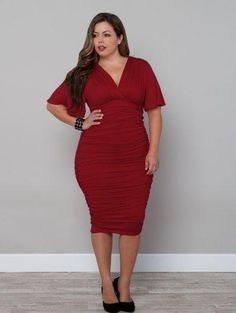 Plus Size Sexy Red Dress at www.curvaliciousclothes.com Sizes 1X-5X ♥