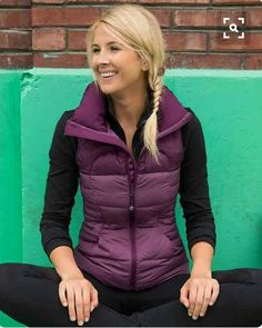 """✔OUTFIT: ✔Fluffin' Awesome Vest (Lululemon, Plum, May""""14), ✔Wunder Under Pants or ❌Black Jeans, ✔Swiftly LS (Lululemon, Black, March""""17)"""
