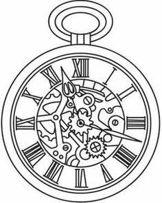 Steampunk Clock Tattoo Designs Sketch Coloring Page Clock Tattoo Design, Tattoo Designs, Clipart, Pocket Watch Drawing, Coloring Books, Coloring Pages, Colouring, Clock Drawings, Tattoo Drawings