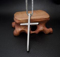 Male Biker Titanium Christian Cross Pendant Box Chain Necklace Collier Homme Cool Luxury Men Jewelry Gift