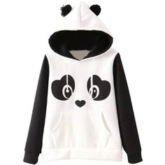 Lovable Panda Pattern Hoodie (£27) ❤ liked on Polyvore featuring tops, hoodies, panda, pattern hoodie, hooded pullover, hooded sweatshirt, white hoodie and patterned hoody