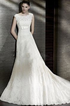 Think I just found my wedding dress! A-Line/Princess  Bateau Cathedral Train Lace Wedding Dress (I0012)