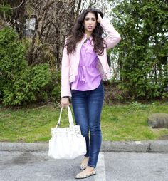 @New York & Company #pastelpurple blouse  @7 For All Mankind #skinnyjeans  @Michael Kors #purse and #silverwatch  #pink #pinkleatherjacket #springfashion #ootd #fashionblogger #fashion