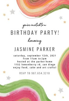 Colorful Paint Brushes - Birthday Invitation #invitations #printable #diy #template #birthday #party Free Birthday Invitations, Paint Brushes, Rsvp, Create Yourself, Arts And Crafts, Printables, Colorful, Messages, Island