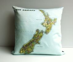 vintage map NEW ZEALAND organic cotton cushion cover, map cushion,  cushion cover, pillow. $55.00, via Etsy.