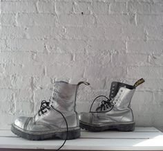 Silver Leather Boots 80s Vintage Dr Martens Made in England Steel Toe Docs 10 Hole Lace Punk Grunge Glam Rave Burningman Costume Playa Boots. $85.00, via Etsy.