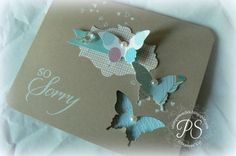 Gorgeous sympathy card by Penny Smiley using Stampin' Up! So Sorry stamp set, Birds of a Feather DSP, Apothecary Accent Framelits and Elegant Butterfly Punch. LUV !!