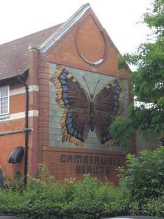 Camberwell Beauty Mural, Wells Way The mural is on the side of the old Camberwell Public Baths Camberwell London, Fiona Banner, Southwark Cathedral, St Olaf, Elephant And Castle, London Bridge, South London, London Calling, Public Art