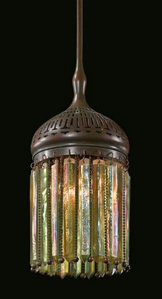 """Morrish """"Prism"""" Lantern, Tiffany Studios, Favrile glass and patinated bronze, Tiffany Stained Glass, Stained Glass Lamps, Tiffany Glass, Mosaic Glass, Glass Art, Antique Lamps, Antique Lighting, Vintage Lamps, Vintage Clocks"""