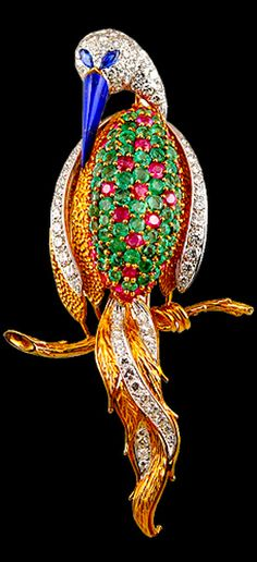 18k Yellow Gold Diamond, Ruby & Emerald Bird Pin