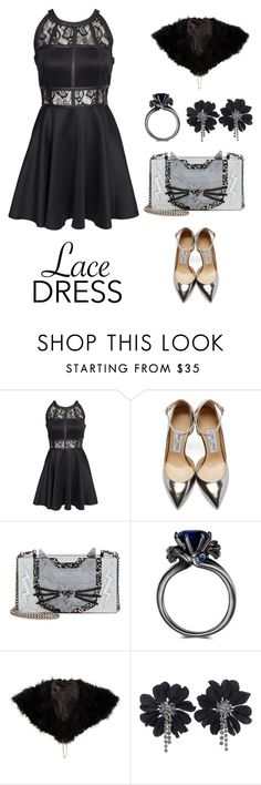 """""""The Lace Dress"""" by beautifulgirlsblog on Polyvore featuring AX Paris, Jimmy Choo, Karl Lagerfeld and Lanvin"""