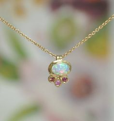 Tiny Solid Gold Necklace, Opal Gold Necklace, Opal and Sapphire Pendant, Sapphire Gold Necklace, Dai