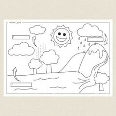 Childrens colouring in activity - Water Cycle Activity Sheet - CleverPatch Kindergarten Report Cards, Kindergarten Colors, Kindergarten Activities, Water Cycle Activities, Weather Activities, 3rd Grade Science Projects, Water Cycle Diagram, Homeschooling First Grade, Seasons Lessons